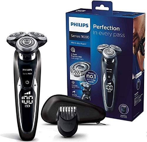 Philips Series 9000 Elektrischer Nass- und Trockenrasierer S9721/41, Gründliche & sanfte Rasur, ideal für 3-Tage Bart, 60 Min. Laufzeit, inkl. Bartstyler