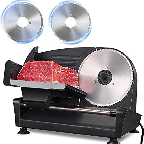Brotschneidemaschine 200W, Allesschneider Elektrischer mit Zwei 19cm Edelstahlklingen, Wurstschneidemaschine mit Verstellbare Küchenmaschine 0 bis 15mm für Fleisch/Brot/Obst/Wurst, Silber