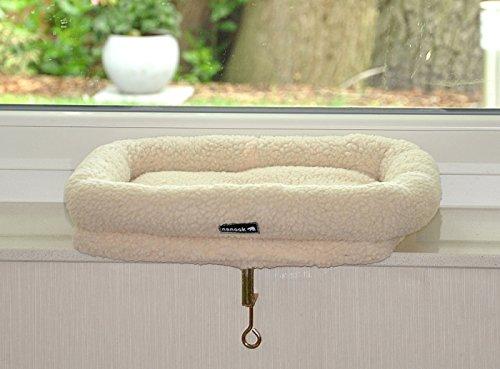 nanook Katzen Fensterbankliege Katzenliege für Fenster Liegemulde SLEEPY, Größe L, Teddyfell weiß