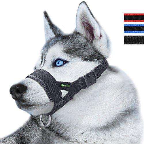 ILEPARK Maulkorb aus Nylon um Hunde vom Beisen, Bellen und Kauen abzuhalten, anpassbare Schlinge (L,Schwarz)