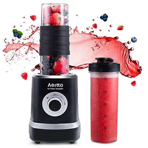 Mixer Smoothie Maker, Aeitto Mini Mixer Blender 500W, Mini Standmixer mit 2 X 520ml Reise Sport Flaschen BPA-frei Tritan-Trinkflasche, 3 einstellbare Geschwindigkeit