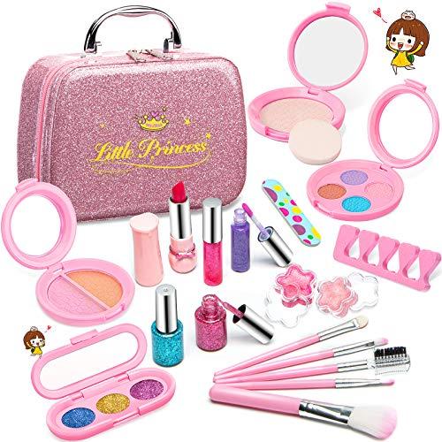 Pickwoo Kinderschminke Set Mädchen , 21 PCS Real Kids Kosmetik Kosmetiktasche Schminkkoffer Kinder Waschbar Kinderschminke Set Makeup Set Spielzeug Geschenk für Mädchen