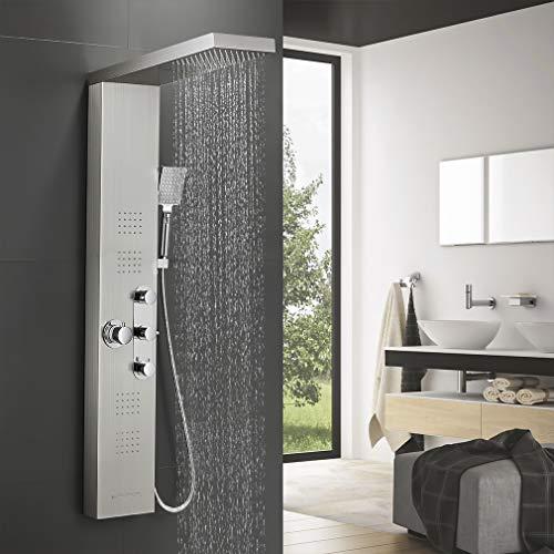 BONADE Thermostat Edelstahl Duschpaneel, Funktional Duschsystem mit Regendusche, Wasserfalldusche, Massagendüsen, Handbrause und Wannenauslauf, Duschgarnitur Luxus Brausepaneel für Badezimmer