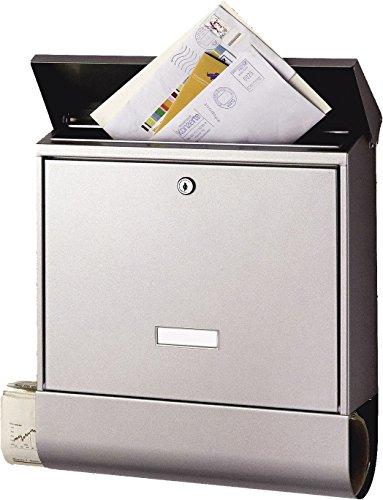 BURG-WÄCHTER Briefkasten mit Zeitungsfach und Namensschild, Edelstahl, Einwurf-Format DIN C4, Inkl. 2 Schlüssel, AMZ 2500 Ni, Edelstahl