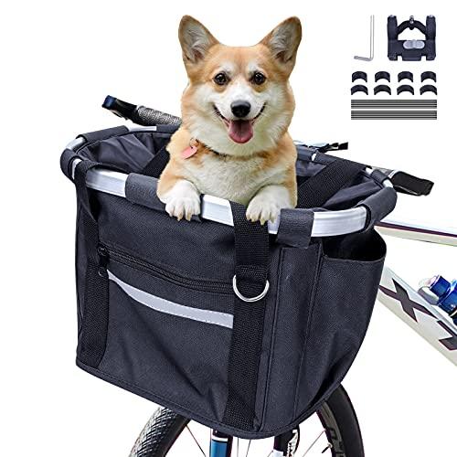 MAIGG Fahrradkorb Vorne, Fahrradkorb Faltbar, Hundefahrradkörbe, Fahrradkorb mit Schnellentfernun Lenkeradapter, Einfache Installation, Fahhradkorb für kleine Haustiere,Picknick,Camping,Einkaufen