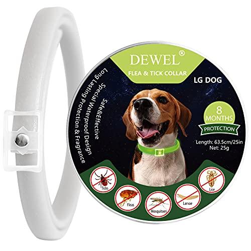DEWEL Leuchtendes Zeckenhalsband für Hunde, Zeckenhalsband Leuchthalsband Hund Verstellbar Floh-und Zecken Prävention Halsbänder Wasserdicht Fluoreszierendes Flohhalsband gegen Ungeziefer, 63.5cm