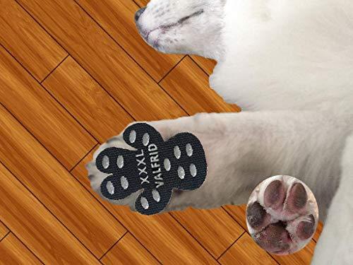 VALFRID Hundepfote Hundepfotenschutz Robuste Anti-Rutsch-Traktionspads, 24 Stück Pfotengriffe für Hartholzböden, strapazierfähig rutschfest,Selbstklebende, Einweg-Hundeschuhe Sockenersatz XXXL