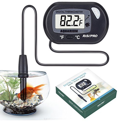 RISEPRO Aquarium-Thermometer, Digitales Wasser-Thermometer für Aquarien