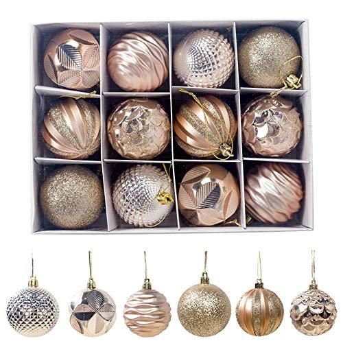 FlyHigh 12er Set edle Weihnachtskugeln Ø 6cm Weihnachtsbaum Kugeln Christbaumkugeln Weihnachts-Deko Christbaum-Schmuck (Gold)