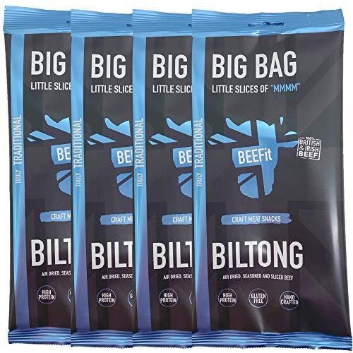 BEEFit Snacks 1kg (4x250g) Traditionelle Biltong, Hohes Protein, Gesund, Wenig Zucker, Nicht Beef Jerky