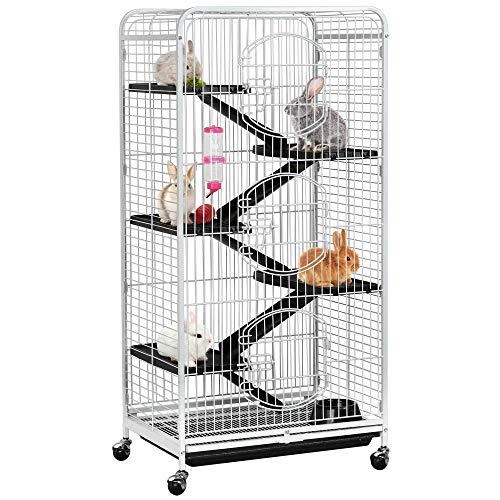 Yaheetech Nagerkäfig Nagervoliere Metall Hamsterkäfig Kleintierkäfig Käfig mit 3 Fronttür Weiß