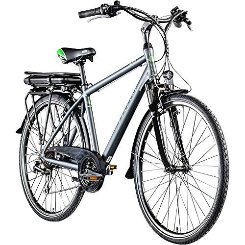 Zündapp E Bike 700c Trekkingrad Pedelec Z802 Elektrofahrrad 21 Gänge 28 Zoll Rad (grau/grün, 48 cm)