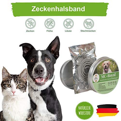 MC-Royal Zeckenhalsband für Hunde, Katzen, Schutz vor Flöhe, Larven, Milben, Ungeziefer, wasserdicht, verstellbar, bis zu 8 Monate Zeckenschutz mit natürlichen Wirkstoffen
