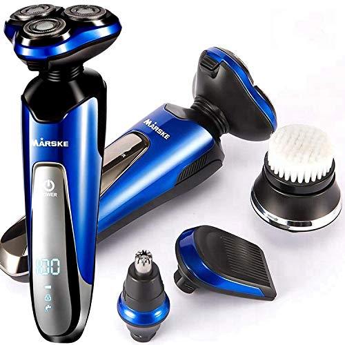 Elektrorasierer für Männer,Professioneller Elektrorasierer Rasierer 4D Schwimmender Rotationsrasierer, Bartsideburns Haartrimmer