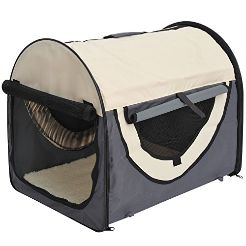 Pawhut Hundebox Faltbare Hundetransportbox Transportbox für Tier 2 Farben 5 Größen (S (46x36x41 cm), dunkelgrau-Creme)