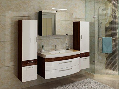 badmöbelset Badezimmer Hochgl. weiß/Walnuss-Nb. 5tlg. mit großen Waschplatz inklusive Mineralgussbecken Spiegelschrank und 2 x Hochschränke