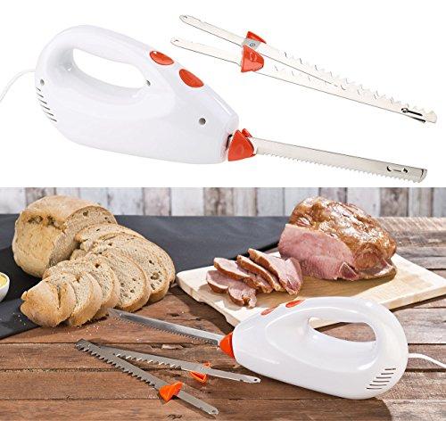 Rosenstein & Söhne Elektrisches Messer: Elektromesser mit 2 Edelstahl-Doppelklingen & Sicherheitssystem, 180 W (Elektrisches Küchenmesser)