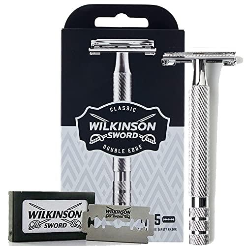 Wilkinson Sword Classic Vintage hochwertiger Rasierhobel inkl. 5 Doppelklingen aus Vollmetall - Für eine besonders exakte und schonende Rasur