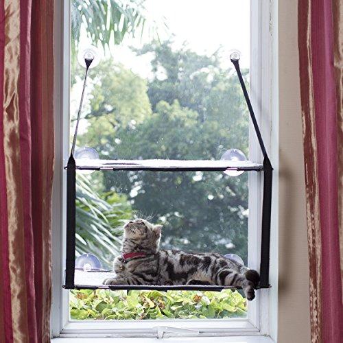 L.S Katzen Hängematten Fensterplatz Fenster Betten Katzenbett Bis zu 25kg Stabiler Metallrahmen Weiche Matten Katzenhängematte Sofas (Doppelt, Grau)
