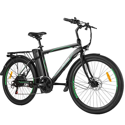 ANCHEER 26' E-Bike mit Abnehmbarer 10Ah Akku, 6-Gang-Getriebe Elektrofahrrad 250W Pedelec für Erwachsene (Hellgrün)