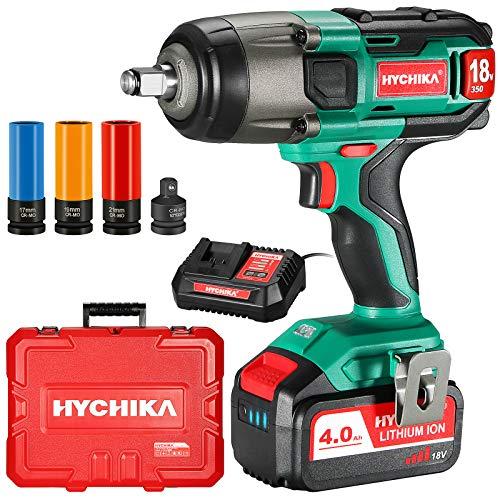 Akku Schlagschrauber, 350N·m mit 4,0 Ah 18V Batterie HYCHIKA Schlagschrauber, 3000 IPM Schlagfrequenz, 3PCS Buchsen für 17/19/21mm, Adapter für 10 mm Dorn und Aufbewahrungsbox für Radschrauben