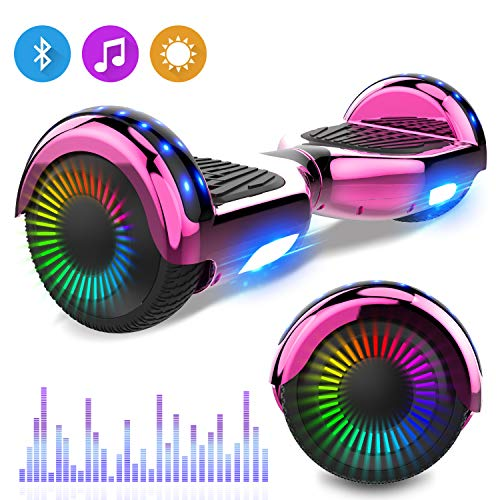 RCB Hoverboards Kinder 6,5 Zoll Elektro Scooter mit Bluetooth LED Flash Elektroroller mit leistungsstarkem Motor blinkt Segway Neues Modell Spielzeug und Geschenk für Kinder