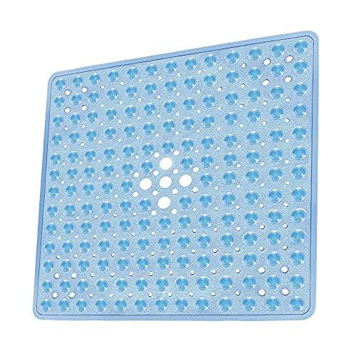 Kaycolin Duschmatte rutschfest Quadratisch - Antirutschmatte Dusche 53 x 53 cm - Badewannenmatte rutschfest - Maschinenwaschbar - Fest im Bad und der Badewanne Installiert (Blau)
