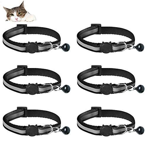 YHmall 6er Reflektierendes Katzenhalsband mit Sicherheitsverschluss, Schwarzes Katzenhalsband mit Glöckchen und Schnalle, Katzenhalsband Verstellbar 20-30 cm MEHRWEG