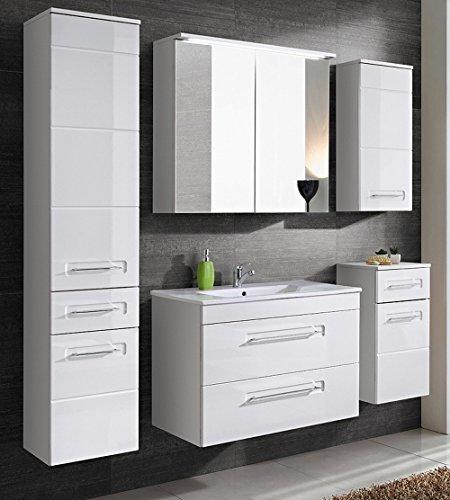 Active Badmöbel-Set/Badmöbelanlage/Komplettbad 6-teilig, weiß hochglanz, mit Waschtisch 80 cm, Spiegelschrank mit LED-Beleuchtung