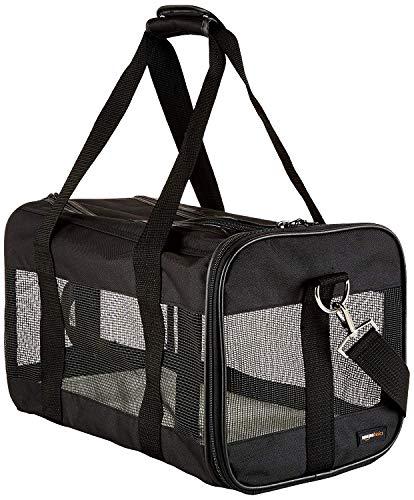 Amazon Basics Transporttasche für Haustiere, weiche Seitenteile, Schwarz, Größe M