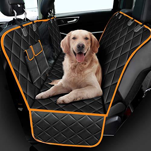 amzdeal Hunde Autoschondecke - Sichtfenster Hundedecke Rückbank, Wasserdicht Autodecke für Haustiere, 147 × 137 cm für Auto und SUV, Robust Hundeschutzdecke Rücksitz aus 600D Oxford-Stoff, Schwarz