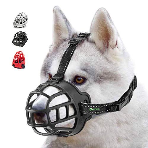 ILEPARK Korbmaulkorb für Hunde, Silikon-Korb Hund Maulkörbe, Atmungsaktiver Rundum-Abdeckung des Und Verstellbare Träger, Verhindert Bellen, Beißen und Kauen. (Größe 4,schwarz)
