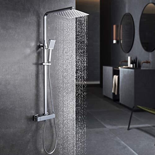 KAIBOR Duschsystem mit Thermostat Regendusche, Duschset mit Schöne Ultraslim Kopfbrause 26x26 cm, Handbrause, Höhenverstellbar Duschstange, Thermostat Dusche mit Anti-Verbrühungs-Duschsystem