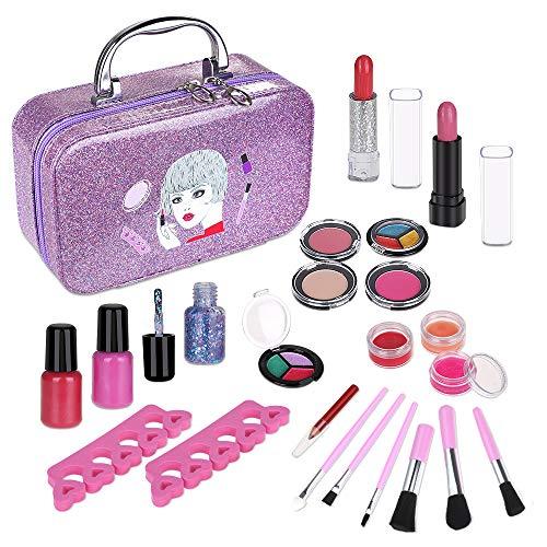 Anpro 23Stk Make-up-Set, Schminkset für Mädchen, waschbar Kosmetik Schminkspielzeug für Kinder Geschenk