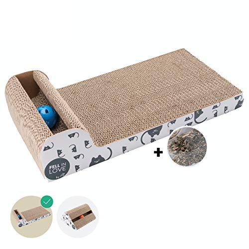 riijk Katzenspielzeug mit Klingelball & Minze  Katzen Kratzbrett Fummelbrett mit Anti-Rutsch Bodenstopper und Katzenminze   Katzen Spielzeug Beschäftigung