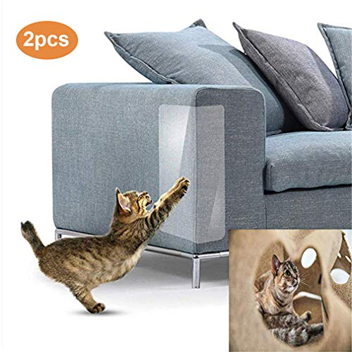 ZHER-LU 2 x Haustier-Matte für Katzenmöbel, unsichtbar, transparenter Sofa-Schutzaufkleber für Katzen