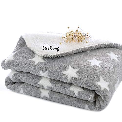 LeerKing Hundedecke doppeilseitige Schlafdecke waschbar Katzendecke für Sofa und Hundebett Grau M