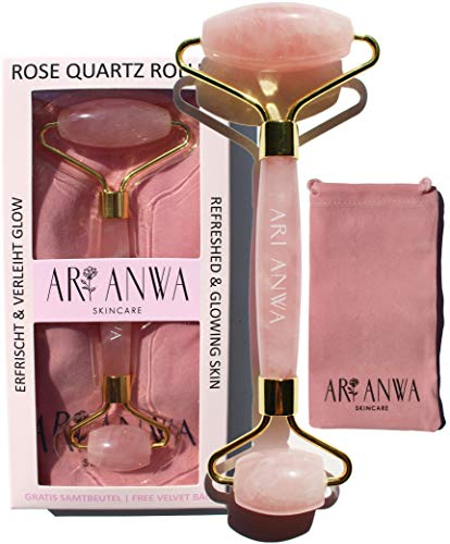 ARI ANWA Skincare ® Premium Rosenquarz Roller - 100% Echt. Hochwertig. Effektiv | Gratis E-Book + Samtbeutel | Jade Roller Rosa für Gesichtsmassage - Rosenquarz Gesichtsroller