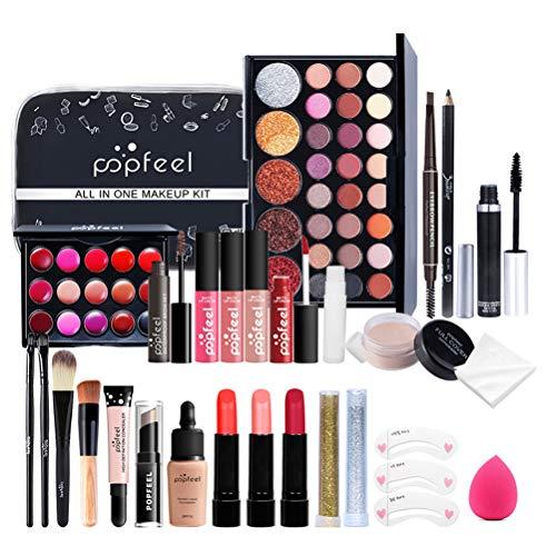 Qhome Alles in Einem Make-Up-Set 27 Stück Professionelles Make-Up-Set Tragbares Reisekosmetik-Set für Mädchen Frauen (Lidschatten-Textmarker Lippenstift Rougepinsel Usw)