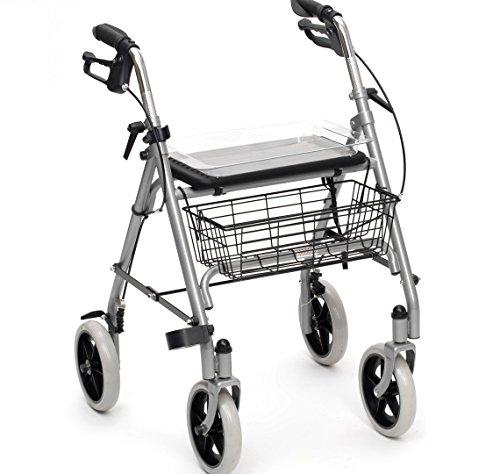 Drive Medical Rollator Gigo aus Aluminium, mit Korb, Grau