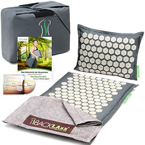 BACKLAxx ® Akupressurmatte Set - Entspannung für Rücken, Nacken, Schulter und Fuß - Massagematte gegen Verspannungen - Kissen, Matte, Tuch und Tasche