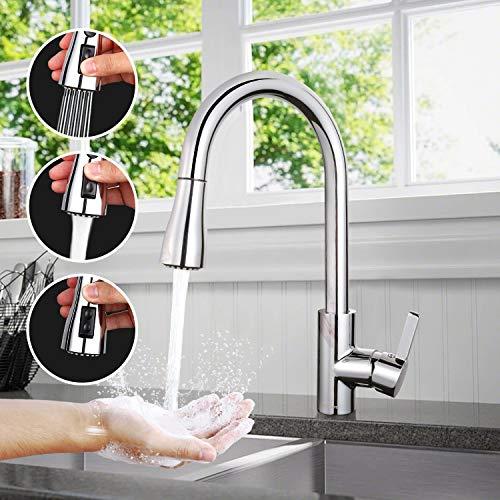 Küchenarmatur, TACKLIFE DAKF6F 360° Drehbar Wasserhahn Küche aus Edelstahl, Einhand- Spültischbatterie mit Herausziehbare Dualbrause, Hohe Bogenauslauf, 100% Bleifrei und Nickelfrei, Spültischamatur