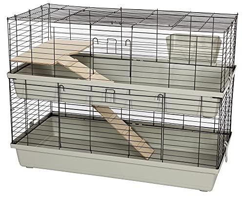 PETGARD Kaninchenstall und Meerschweinchenkäfig, mehrstöckiges und großes Nagerhaus mit 2 Ebenen und 2 Holzleitern, 119x59x87 cm, Grenada 120