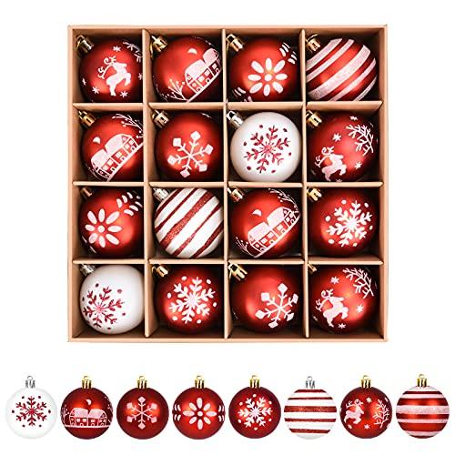 ZOOI Weihnachtskugeln Kunststoff Set, 16 Stücke 6CM Deko Weihnachten mit Aufhänger Christbaumkugeln Plastik Bruchsicher, Baumschmuck Weihnachten Weiße Weihnachtskugeln, Weihnachtskugeln Rot