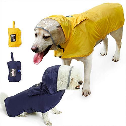 Wasserdichter Hunde-Regenmantel, verstellbar und leicht zu tragen, regen/wasserabweisend, 7 verfügbare Größen von XS bis XXXL passend für jeden Hund