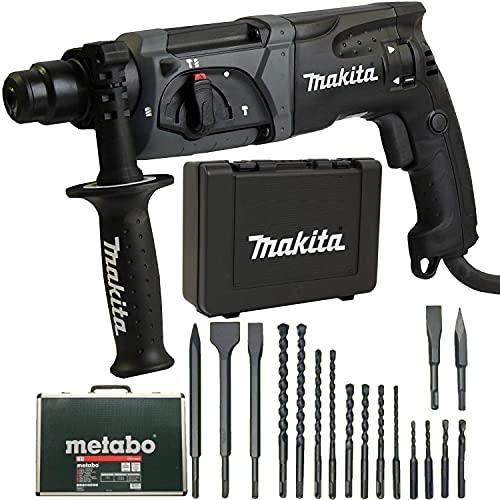 Makita Bohrhammer HR2470 im Koffer + Metabo Bohrer und Meisel-Set 17 tlg