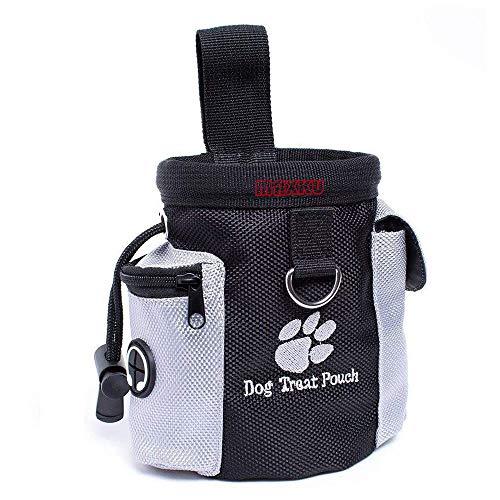 MAXKU Futterbeutel für Hunde - Leckerlitasche Snack Bag mit Clip & Lasche - Futtertasche für Hundetraining und Ausbildung - Wasserfest und Abwaschbar - 12.5x8x12.5 cm