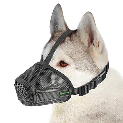 ILEPARK Nylonnetz Maulkorb mit Sicherheitsriemen für Kleine, Mittlere und Große Hunde, Verhindert Beißen, Bellen und Kauen (L,Schwarz)