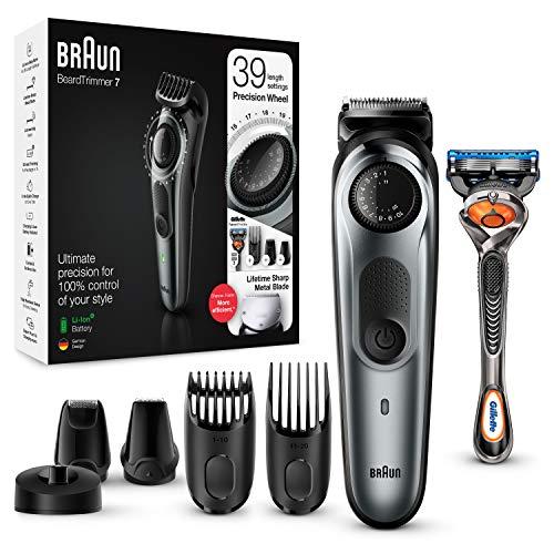 Braun Barttrimmer/Haarschneider Herren, Trimmer/Haarschneidemaschine, inkl. 4 Aufsätze & Rasierer, 39 Längeneinstellungen, BT7240, schwarz/grau-metallic