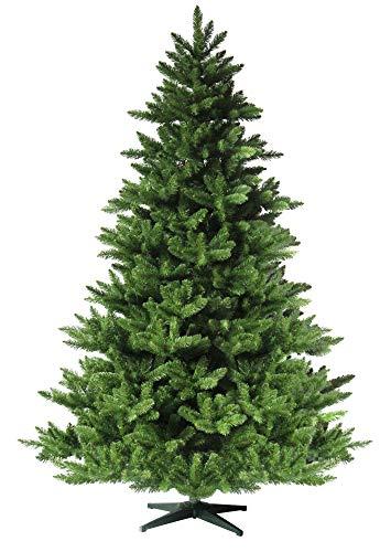 RS Trade HXT 19001 künstlicher Weihnachtsbaum 180 cm (Ø ca. 132 cm) mit 1422 Spitzen und Schnellaufbau Klapp-Schirmsystem, schwer entflammbar, unechter Tannenbaum inkl. Metall Christbaum Ständer